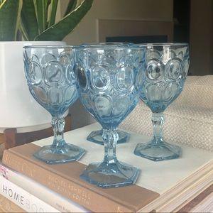 Vintage Blue Glassware Set of 4 Footed Goblets